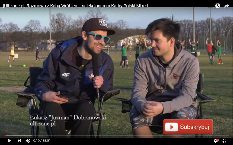 Jakub Wróbel selekcjoner Kadry Polski Mixed w ultimate frisbee
